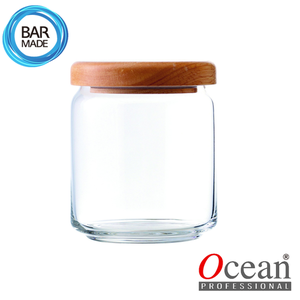 오션 POP JAR 유리병(500ml) (나무뚜껑포함)Ocean POP JAR Glass Bottle[B02517W]
