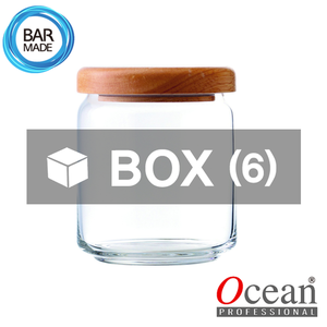 1BOX - 6ea오션 POP JAR 유리병(500ml) (나무뚜껑포함)Ocean POP JAR Glass Bottle[B02517W]